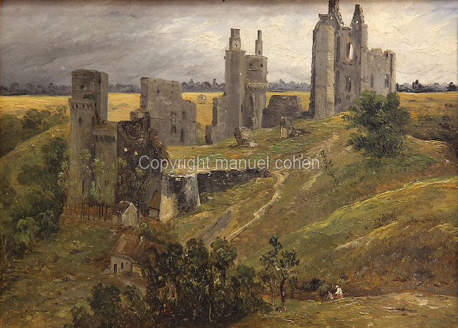 View of the Chateau de Pierrefonds in ruins, detail, c. 1829, oil on canvas-backed paper, by Auguste-Jacques Regnier, 1787-1860, in Le MUDO, or the Musee de l'Oise, Beauvais, Picardy, France. Picture by Manuel Cohen