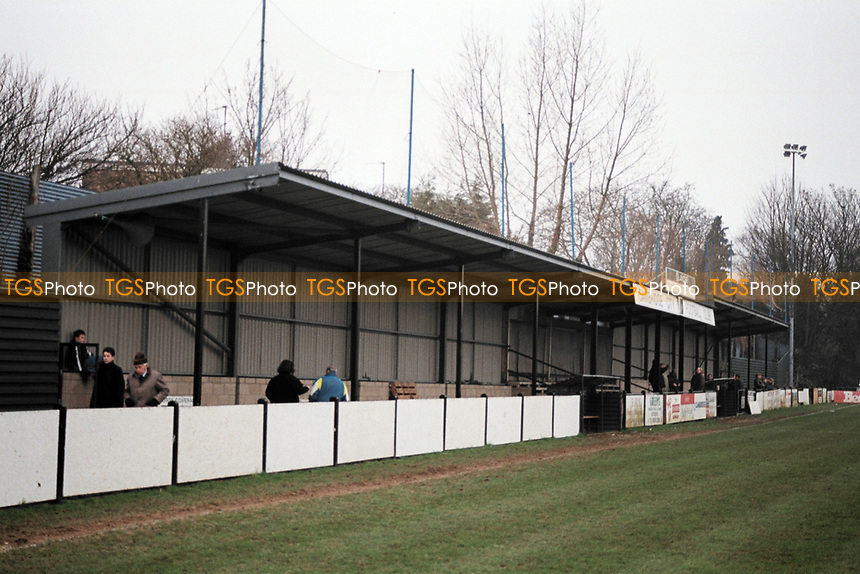 The covered terrace at Cambridge City FC Football Ground, Milton Road, Cambridge, pictured on 20th January 1996