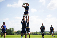 Francois Louw of Bath Rugby wins the ball at a lineout. Bath Rugby pre-season training session on August 9, 2016 at Farleigh House in Bath, England. Photo by: Patrick Khachfe / Onside Images