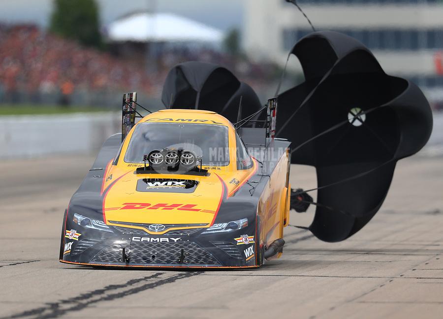 May 20, 2017; Topeka, KS, USA; NHRA funny car driver J.R. Todd during qualifying for the Heartland Nationals at Heartland Park Topeka. Mandatory Credit: Mark J. Rebilas-USA TODAY Sports