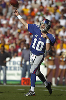 23 September 2007:  Giants QB Eli Manning (10) throws down field.  The New York Giants defeated the Washington Redskins 24-17 at FedEx Field in Landover, MD.