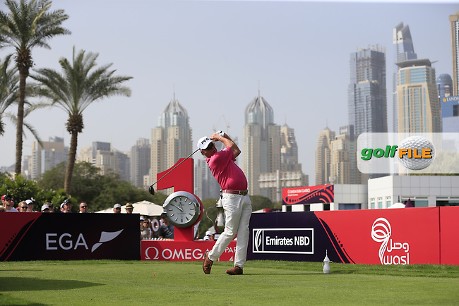 Miguel Angel Jimenez (ESP) on the 1st tee during Round 2 of the Omega Dubai Desert Classic, Emirates Golf Club, Dubai,  United Arab Emirates. 25/01/2019<br /> Picture: Golffile   Thos Caffrey<br /> <br /> <br /> All photo usage must carry mandatory copyright credit (© Golffile   Thos Caffrey)