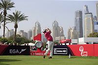 Miguel Angel Jimenez (ESP) on the 1st tee during Round 2 of the Omega Dubai Desert Classic, Emirates Golf Club, Dubai,  United Arab Emirates. 25/01/2019<br /> Picture: Golffile | Thos Caffrey<br /> <br /> <br /> All photo usage must carry mandatory copyright credit (© Golffile | Thos Caffrey)