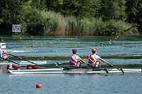 """Lucerne, SWITZERLAND, 15th July 2018, Sunday, """"SUI W2X"""", Bow, """"Pascale WALKER"""" and """"Valerie ROSSETT"""", Final, """"Women's Double Sculls"""" FISA World Cup III Lake Rotsee, © Peter SPURRIER,"""