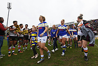 Picture by Anna Gowthorpe/SWpix.com - 15/04/2018 - Rugby League - Womens Super League - Bradford Bulls v Leeds Rhinos - Coral Windows Stadium, Bradford, England - The Bradford Bulls male team welcome the Ladies teams onto the pitch