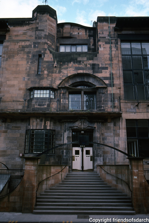 C.R. Mackintosh: Glasgow School of Art--North elevation--entrance. Considered to be Mackintosh's masterpiece. Built 1897-1909.