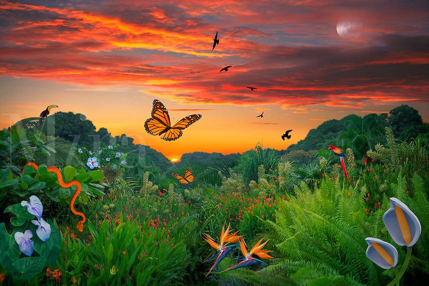 Digital illustration: paradise sunset.