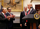 United States President Donald J. Trump announces David Malpass as his choice to serve as president of the World Bank, in the Roosevelt Room of the White House, in Washington, DC, February 6, 2019.  Pictured at left are: United States Secretary of Commerce Wilbur L. Ross, Jr., United States Secretary of the Treasury Steven T. Mnunchin.<br /> Credit: Martin H. Simon / CNP