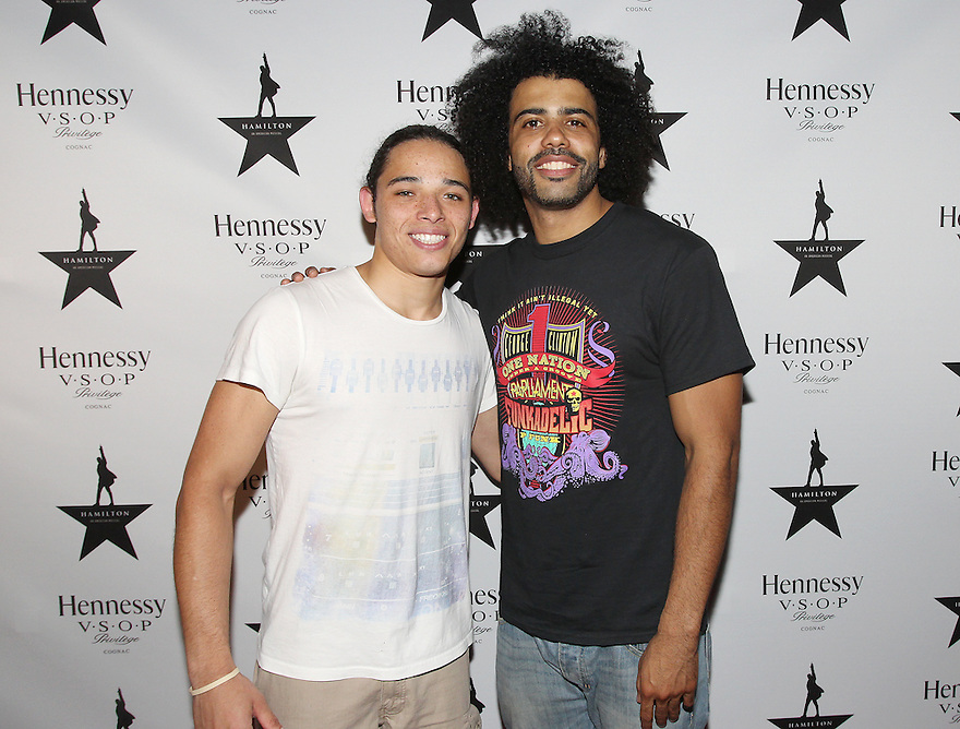 Actors Anthony Ramos and Daveed Diggs are seen at Hennessy V.S.O.P Celebrates Hamilton's 1st Week of performances on Broadway at URBO on Saturday, July 18, 2015, in New York. (Photo by Donald Traill/Invision for Hennessy/AP Images)