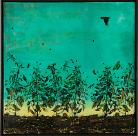 Encaustic photo painting of crow in green sky by Florida artist Jeff League.