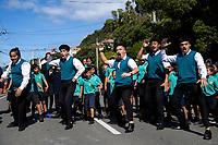 Te Kura Kaupapa Maori o Nga Mokopuna pupils perform a haka. NZ marks one week since Christchurch terror attacks. Wellington Islamic Centre in Wellington, New Zealand on Friday, 22 March 2019. Photo: Dave Lintott / lintottphoto.co.nz