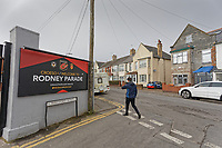 Pictured: The entrance to Rodney Parade in Newport, Wales, UK. Thursday 14 February 209<br /> Re: The city of Newport is preparing to host the FA Cup match between Newport County and Manchester City at Rodney Parade, Newport, Wales, UK.