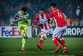 7th December 2017, Rajko Mitic Stadium, Belgrade, Serbia, UEFA Europa League football, Red Star Belgrade versus FC Cologne; Midfielder Damien Le Tallec of Red Star Belgrade and Midfielder Nenad Krsticic of Red Star Belgrade block the shoot from Forward Yuya Osako of FC Koeln