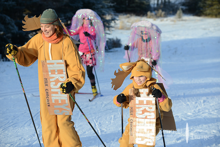 About 1,300 women took part in the 18th annual Alaska Ski for Women, held Feb. 2, 2014 at Kincaid Park in Anchorage, Alaska, to benefit programs that help break the cycle of domestic violence. The event includes classic and skate skiing and includes a costume contest.