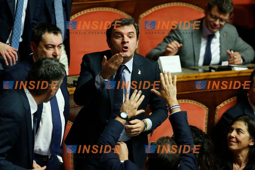 Senators arguing at Senate. Gian Marco Centinaio makes gestures to another senator<br /> Rome December 12th 2019. Speech of the Italian Premier about MES, European Stability Mechanism.<br /> Foto Samantha Zucchi Insidefoto