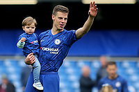 Chelsea's Cesar Azpilicueta waves to the home fans as he walks around the pitch with members of his family after the final whistle during Chelsea vs Watford, Premier League Football at Stamford Bridge on 5th May 2019