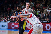 22nd March 2018, Aleksandar Nikolic Hall, Belgrade, Serbia; Turkish Airlines Euroleague Basketball, Crvena Zvezda mts Belgrade versus Fenerbahce Dogus Istanbul; Center Jason Thompson of Fenerbahce Dogus Istanbul is challenged by Center Pero Antic of Crvena Zvezda mts Belgrade