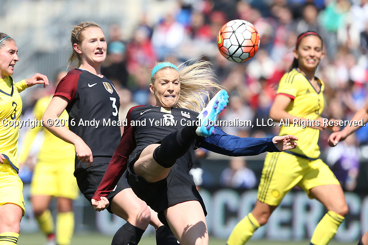 10 April 2016: Julie Johnston (USA) (8) scores the second goal. The United States Women's National Team played the Colombia Women's National Team at Talen Energy Stadium in Chester, Pennsylvania in an women's international friendly soccer game. The U.S. won the match 3-0.