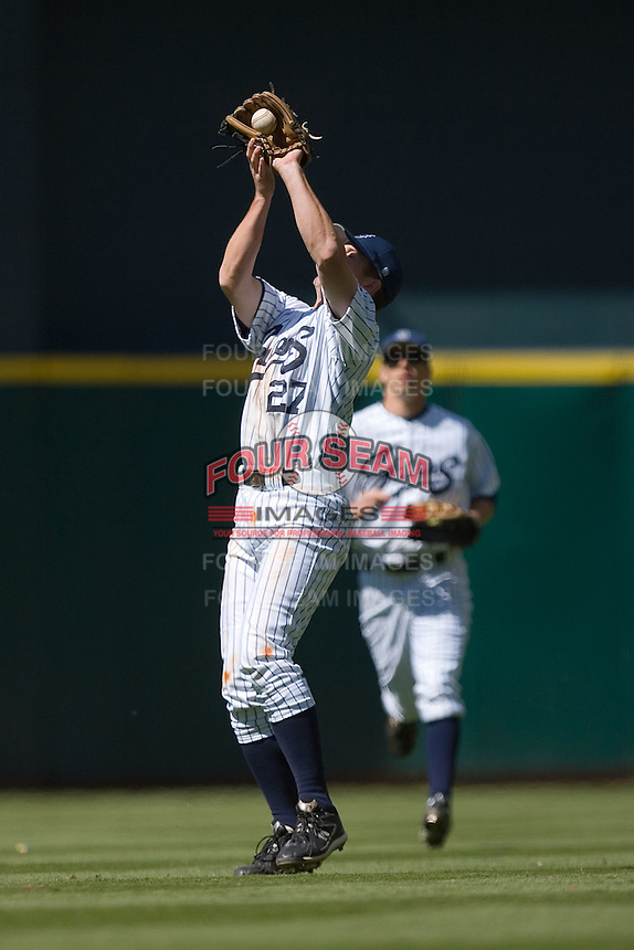 Second baseman Casey Stevenson #27 of the UC-Irvine Anteaters makes a catch in shallow right field versus the UCLA Bruins in the 2009 Houston College Classic at Minute Maid Park March 1, 2009 in Houston, TX.  The Anteaters defeated the Bruins 7-4. (Photo by Brian Westerholt / Four Seam Images)