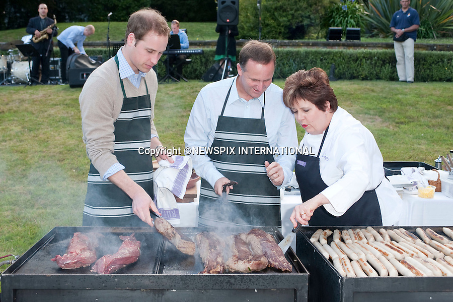 """PRINCE WILLIAM.Prince William attended the Prime Minister's BBQ at the PM's residence..The Prince was greeted by the Prime Minister John Key and his wife Bronagh, after which the Prince and the Prime Minister with the aid of Ruth Pretty (caterer) cooked some beef and sausages on the BBQ whilst drinking a beer. Prime Minister's residence, Wellington, New Zealand_18/01/2010.Mandatory Credit Photo: ©DIAS-NEWSPIX INTERNATIONAL..**ALL FEES PAYABLE TO: """"NEWSPIX INTERNATIONAL""""**..IMMEDIATE CONFIRMATION OF USAGE REQUIRED:.Newspix International, 31 Chinnery Hill, Bishop's Stortford, ENGLAND CM23 3PS.Tel:+441279 324672  ; Fax: +441279656877.Mobile:  07775681153.e-mail: info@newspixinternational.co.uk"""