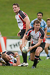 Kristian Ormsby & Dave Duley watch as Kane Hancy passes to the backline.  Air New Zealand Cup pre-season rugby game between the Counties Manukau Steelers & Northland, played at Growers Stadium on July 21st, 2007. Counties Manukau won 28 - 17.