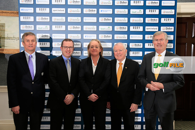 CALL TO ACTION:  <br /> Golf superstar Rory McIlroy is calling on golf clubs across the island of Ireland to help him make this year&rsquo;s Dubai Duty Free Irish Open hosted by the Rory Foundation one of the best in the tournament&rsquo;s illustrious history.  In a letter to every golf club in the Republic of Ireland and Northern Ireland, Rory has requested that clubs come together to support this year&rsquo;s Dubai Duty Free Irish Open, which takes place at The K Club in County Kildare from May 19-22, and he has also produced his own personal &lsquo;five point plan&rsquo; to help clubs and their members to get involved.  Announcing details of the clubs initiative are (l-r) Michael Davern, Chief Executive, The K Club, Barry Funston, Chief Executive, the Rory Foundation, Antonia Beggs, European Tour, George Horan, President Dubai Duty Free and Redmond O&rsquo;Donoghue, Chairman of the Confederation of Golf in Ireland (CGI).<br /> <br /> Picture: Fran Caffrey | Golffile<br /> <br /> <br /> All photos usage must carry mandatory copyright credit (&copy; Golffile | Fran Caffrey)