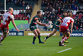 4th November 2017, Welford Road, Leicester, England; Anglo-Welsh Cup, Leicester Tigers versus Gloucester;  Captain Joe Ford spins the ball out wide