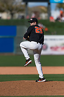 Oregon State Beavers relief pitcher Joey Mundt (25) delivers a pitch during a game against the Gonzaga Bulldogs on February 16, 2019 at Surprise Stadium in Surprise, Arizona. Oregon State defeated Gonzaga 9-3. (Zachary Lucy/Four Seam Images)