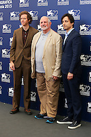From left, Jake Paltrow, Brian De Palma and Noah Baumbach attend a photocall for the documentary movie 'De Palma' and the 'Jaeger-LeCoultre Glory' award to the Filmmaker 2015 during the 72nd Venice Film Festival at the Palazzo Del Cinema in Venice, Italy, September 9, 2015.<br /> UPDATE IMAGES PRESS/Stephen Richie