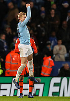 Manchester City 's Oleksandr Zinchenko celebrates scoring the winning penalty<br /> <br /> Photographer Andrew Kearns/CameraSport<br /> <br /> English League Cup - Carabao Cup Quarter Final - Leicester City v Manchester City - Tuesday 18th December 2018 - King Power Stadium - Leicester<br />  <br /> World Copyright © 2018 CameraSport. All rights reserved. 43 Linden Ave. Countesthorpe. Leicester. England. LE8 5PG - Tel: +44 (0) 116 277 4147 - admin@camerasport.com - www.camerasport.com
