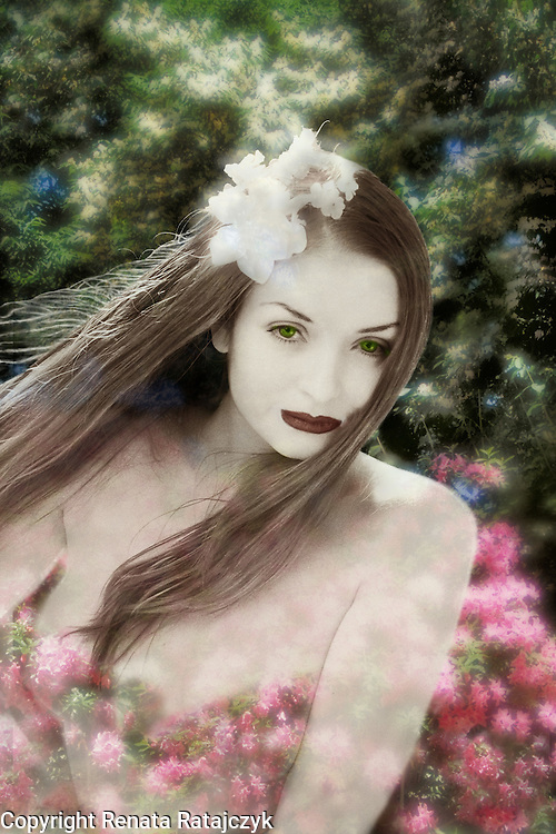 Persephone goddess brings spring to the world. Fine art semi-nude, limited edition print.