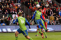 Toronto, ON, Canada - Saturday Dec. 10, 2016: Joevin Jones, Jozy Altidore during the MLS Cup finals at BMO Field. The Seattle Sounders FC defeated Toronto FC on penalty kicks after playing a scoreless game.