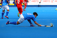 Kim Ki Hoon passes the ball in midfield  during the Hockey World League Semi-Final Pool A match between China and Korea at the Olympic Park, London, England on 17 June 2017. Photo by Steve McCarthy.