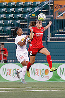 Rochester, NY - Friday June 17, 2016: Portland Thorns FC defender Katherine Reynolds (2), Western New York Flash defender Taylor Smith (11) during a regular season National Women's Soccer League (NWSL) match between the Western New York Flash and the Portland Thorns FC at Rochester Rhinos Stadium.