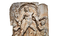 Roman Sebasteion relief  sculpture of Emperor Claudius as God of sea and land,  Aphrodisias Museum, Aphrodisias, Turkey.   Against a white background.<br /> <br /> The Emperor as god Claudius strides forward in a divine epiphany, drapery billowing around his head. He receives a cornucopia with fruits of the earth from a figure emerging from the ground, anda ship's steering oar from a marine tritoness with fish legs. The idea is clear: the god-emperor guarantees the prosperity of land and sea. The relief is a remarkable local visualisation - elevated and panegyrical - of the emperor's role as a universal saviour and divine protector.