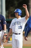 University of Kentucky Wildcats outfielder Austin Cousino #19 on base during a game against the University of Virginia Cavaliers at Brooks Field on the campus of the University of North Carolina at Wilmington on February 14, 2014 in Wilmington, North Carolina. Kentucky defeated Virginia by the score of 8-3. (Robert Gurganus/Four Seam Images)