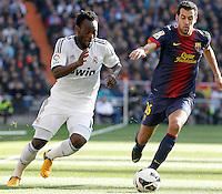 Real Madrid's Michael Essien (l) and FC Barcelona's Sergio Busquets during La Liga match.March 02,2013. (ALTERPHOTOS/Acero) /NortePhoto