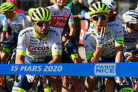 14th March 2020, Paris to Nice cycling tour, final day, stage 7;   PASQUALON Andrea (ITA) of CIRCUS - WANTY GOBERT and DOUBEY Fabien (FRA) of CIRCUS - WANTY GOBERT pictured at the start of stage 7 of the 78th edition of the Paris - Nice cycling race, a stage of 166,5km with start in Nice and finish in Valdeblore La Colmiane on March 14, 2020 in Valdeblore La Colmiane, France