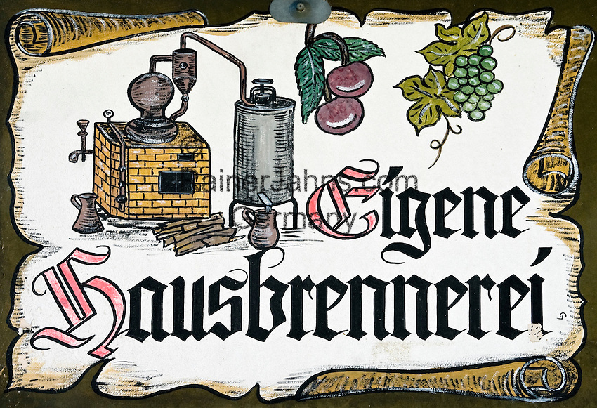 Germany, Baden-Wuerttemberg, Markgraefler Land, distillery sign