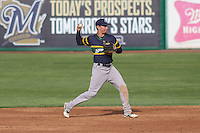 Beloit Snappers infielder Trent Gilbert (3) throws to first base during a Midwest League game against the Wisconsin Timber Rattlers on May 30th, 2015 at Fox Cities Stadium in Appleton, Wisconsin. Wisconsin defeated Beloit 5-3 in the completion of a game originally started on May 29th before being suspended by rain with the score tied 3-3 in the sixth inning. (Brad Krause/Four Seam Images)