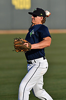 Infielder Reed Gamache (40) of the Columbia Fireflies warms up before a game against  the West Virginia Power on Thursday, May 18, 2017, at Spirit Communications Park in Columbia, South Carolina. Columbia won in 10 innings, 3-2. (Tom Priddy/Four Seam Images)