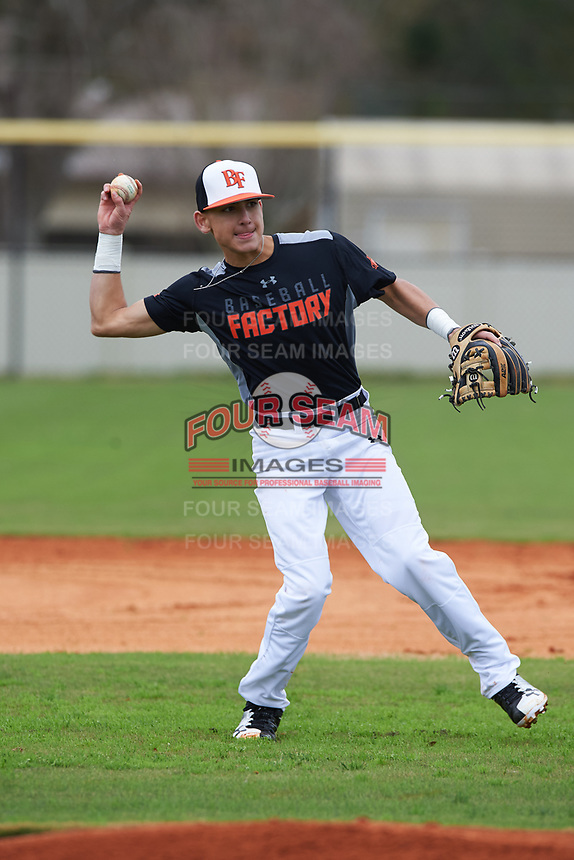 Rylan Galvan (8) of Sinton, Texas during the Baseball Factory All-America Pre-Season Rookie Tournament, powered by Under Armour, on January 13, 2018 at Lake Myrtle Sports Complex in Auburndale, Florida.  (Michael Johnson/Four Seam Images)