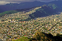 A view of Honolulu during the day with residential  scapes