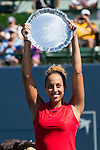 August 06, 2017: Madison Keys (USA) celebrates after defeating CoCo Vandeweghe (USA) 7-6 (7-4), 6-4 at the Bank of the West Classic finals being played at the Taube Tennis Stadium in Stanford, California. ©Mal Taam/TennisClix/CSM