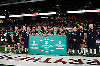 The England team pose for a photo after the match. Old Mutual Wealth Series International match between England and Fiji on November 19, 2016 at Twickenham Stadium in London, England. Photo by: Patrick Khachfe / Onside Images