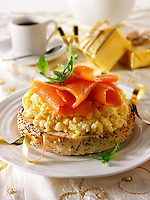 Smoked Salmon on scrambled egg bagel