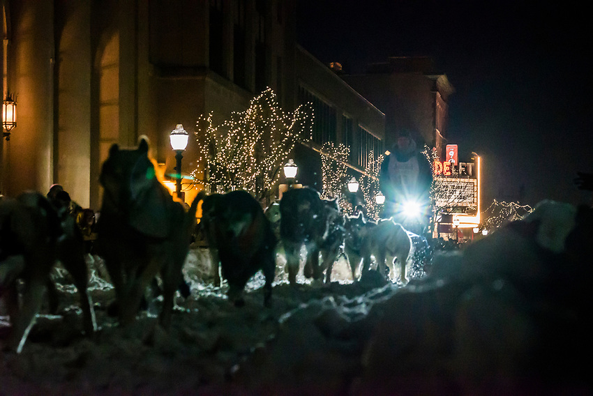 The start of the UP 200 Sled Dog Championship in downtown Marquette, Michigan.
