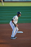 Jo Adell (26) of the Salt Lake Bees takes a lead at second base against the El Paso Chihuahuas at Smith's Ballpark on August 17, 2019 in Salt Lake City, Utah. The Bees defeated the Chihuahuas 5-4. (Stephen Smith/Four Seam Images)