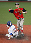 Coronado's Tyler Brown turns the double play against Reno Huskies' Zachary Paquette during the NIAA 4A baseball championship tournament in Reno, Nev. on Thursday, May 16, 2012. Reno won 6-5..Photo by Cathleen Allison