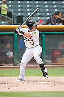 Daniel Robertson (13) of the Salt Lake Bees at bat against the Tacoma Rainiers in Pacific Coast League action at Smith's Ballpark on May 7, 2015 in Salt Lake City, Utah. The Bees defeated the Rainiers 11-4 in the completion of the game that was suspended due to weather on May 6, 2015.(Stephen Smith/Four Seam Images)